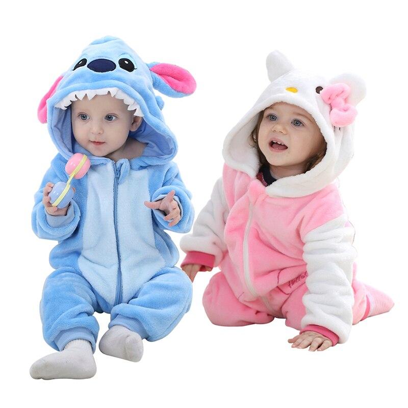 407dd643a Comprar Meninas do bebê rompers new born Roupa do bebê Com Capuz Meninos  Crianças Marca macacão de Manga Longa Flanela Macia Animal traje Kawaii 0  24 m ...