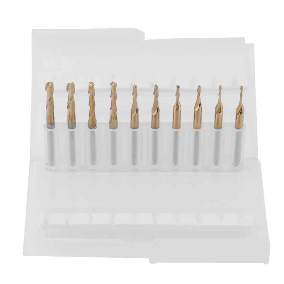 New Arrive Titanium Coated Ball Nose Milling Cutter Bits 3.175mm Shank 1*4/1.5*6/2*8/2.5*12/3.175*12mm CNC Cutting Bits