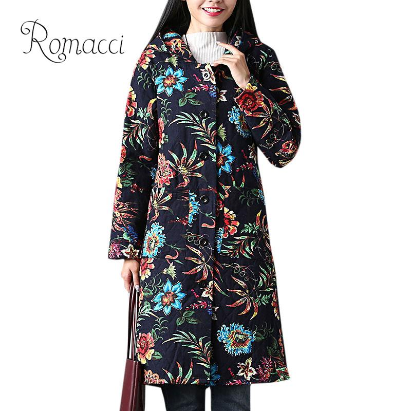 Plus Size Ethnic Women Long Outerwear Vintage Multicolor Floral Print Hooded   Parka   Single Breasted Pockets Autumn Winter Jacket