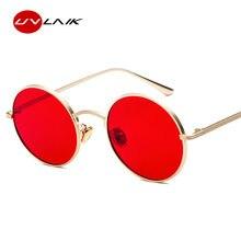 Gafas de sol redondas clásicas UVLAIK, gafas Retro Steampunk para mujer, gafas negras, rojas, amarillas, rosadas, gafas con montura metálica, gafas con revestimiento