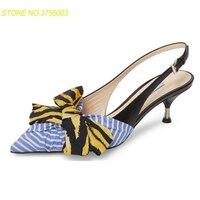 Новинка; шикарные сандалии гладиаторы в синюю полоску с бантом; женские разноцветные туфли на высоком каблуке шпильке с острым носком; женс