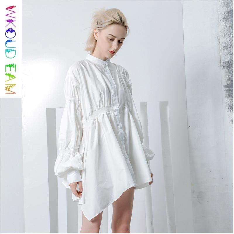 2631d660b3 Collar Eam Camisa Otoño Blusa Moda Largo Plisado Primavera Color Linterna  2019 Nueva Manga Wkoud Sólido Mujer ...