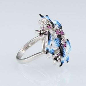 Image 4 - SANTUZZA bague en argent pour femmes 925 en argent Sterling glamour papillons brillant cubique zircon anneau bijoux de mode émail