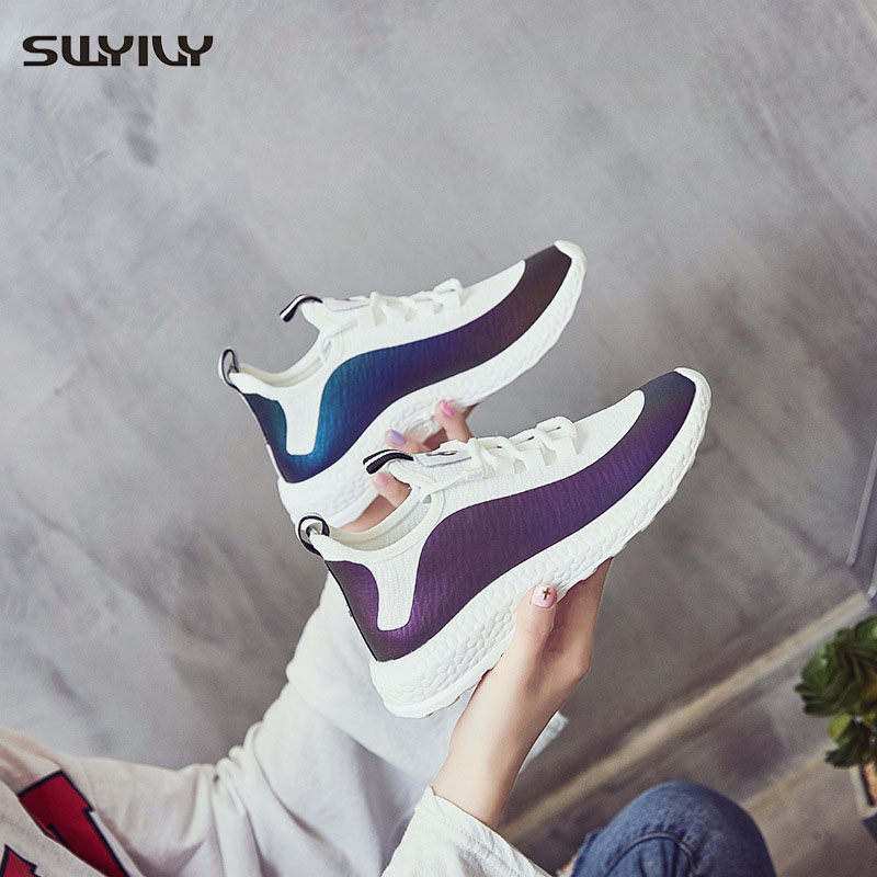 SWYIVY White Shoes Women Sneakers 2019 Spring Casual Sneakers Net Surface Breathable Comfortable And Lightweight Students