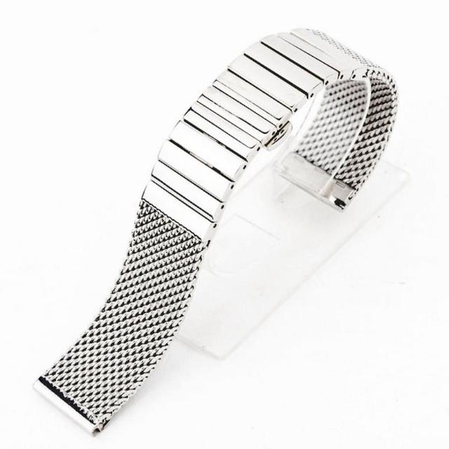 18mm/20mm/24mm Stainless Steel Watch Band Straight End Butterfly Clasp Watch Strap Replacement Women Men Mesh Watchband Bracelet