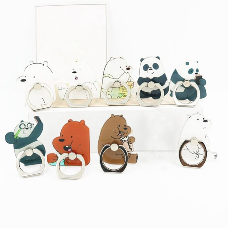 1 Pc Kawaii Three Bears Universal Phone Holder Mobile Finger Ring Stands Cartoon We Bare Bears Phone Ring Supports Figure Toy