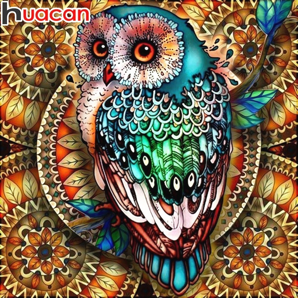 HUACAN Diamond Painting Full Square Owl Animal