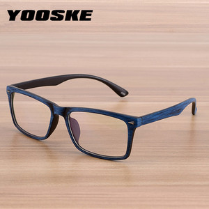 YOOSKE Vintage Wooden Pattern Glasses Frame Men Women Classic Optical Spectacle Eyeglasses Retro Style Bamboo Wood Eyewear Male(China)