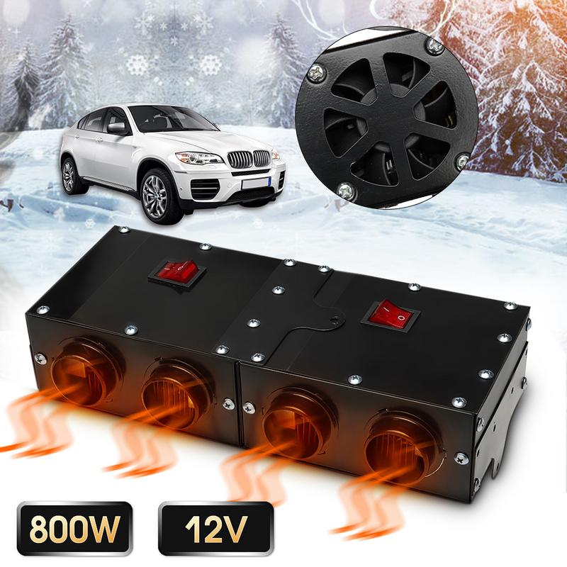 Universel DC 12 V 800 W voiture véhicule ventilateur chauffage plus chaud pare-brise dégivreur désembuage ventilateur chauffage 4 Port Double interrupteur contrôle