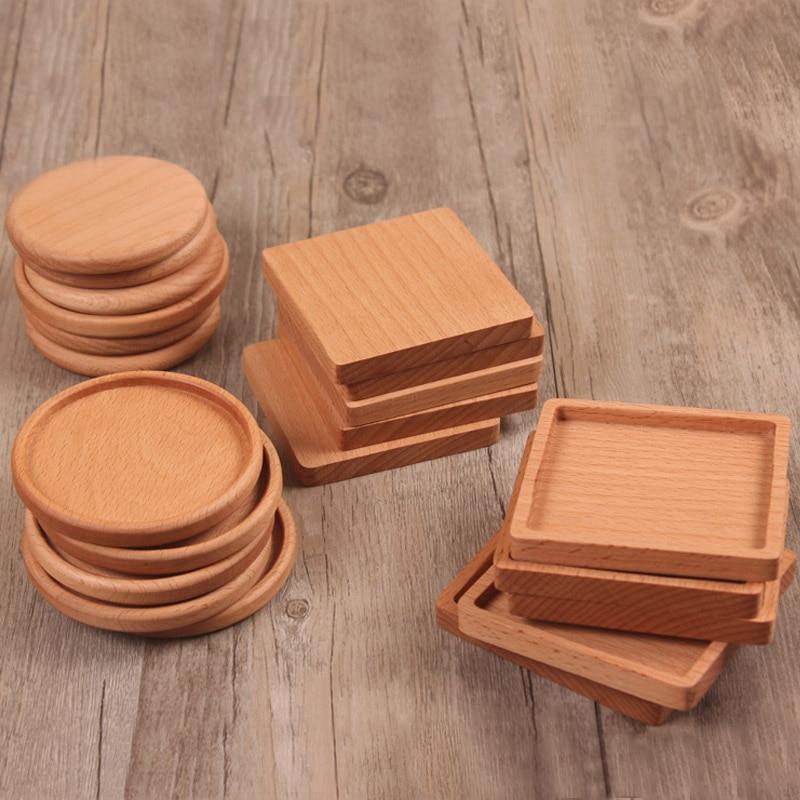 Original Wooden Heat Insulation Tea Cup Pad Holder Mat Pads Coffee Drinks Place