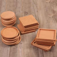 Tea Coffee Cup Pad Square Round Durable Drink Mat Placemats Decor Home Table Heat Resistant Walnut Wood Coasters 1 Pcs