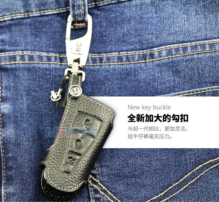 Color negro Cuero genuino Car Key fob Cubierta Key Wallet Key Case - Accesorios de interior de coche - foto 3
