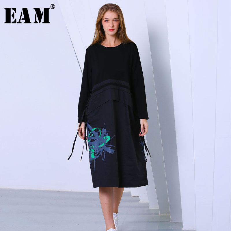 [EAM] 2019 Autumn Winter Woman New High Quality Black Color Spliced Print Pattern Long Sleeve O-neck Loose Dress All Match LI383