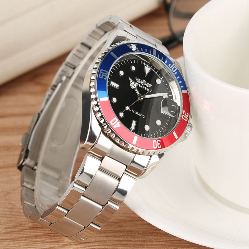 WINNER Fashion Men Luxury Brand Date Display Stainless Steel Sport Watch Automatic Mechanical Business Wristwatch Relojes Hombre in Mechanical Watches from Watches