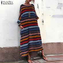 Women Summer Sundress ZANZEA Ladies Long Maxi Dress Vestidos Vintage Printed Robe Femme Striped Beach Party Dresses Plus Size