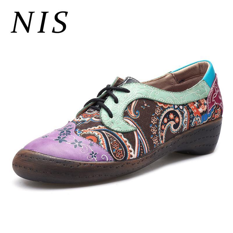 NIS Plus Size Bohemian Women Shoes Woman Socofy Oxfords Flats Vintage PU Leather Ladies Shoes Retro Lace-up Women Flats 2019