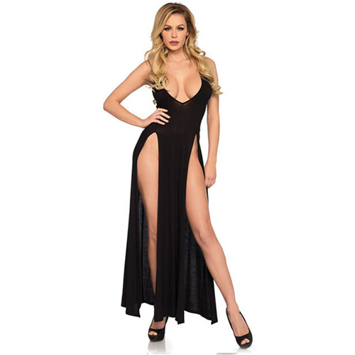 Sexy Women Ladies Fashion Dresses V-Neck Polyester Lace Push Up Sling Long Dress Outwear Black