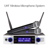 LEORY Wireless Microphone System UHF 2 Channel 2 Cordless Handheld Mic Kraoke Speech Party supplies Cardioid Microphone