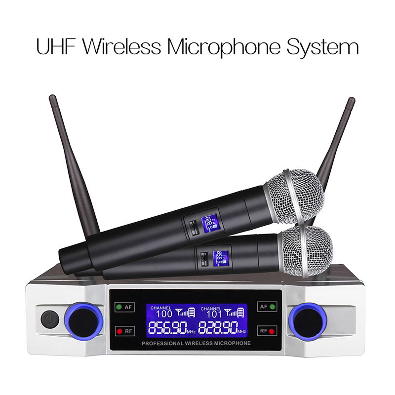 Système de Microphone sans fil LEORY micro portatif sans fil UHF 2 canaux 2 Kraoke