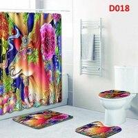 1 Set Bathroom Curtain Set Animal Printed Pattern Bathroom Decoration Shower Curtain Rug Toilet Cover Bath Non slip Mat