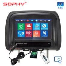 ¡Nuevo! Monitor automotriz de 7 o 8 pulgadas para reposacabezas de coche reproductor de vídeo MP5 con IR FM pantalla táctil carga de teléfono 7068 o 8068