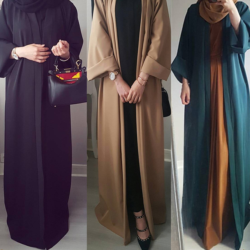 Plus Size Polyester Woman Turkish Kaftan Abaya Dubai Muslim Costumes Cardigan Coat Plus Size Loog Islamic Kimono Eid Mubarak