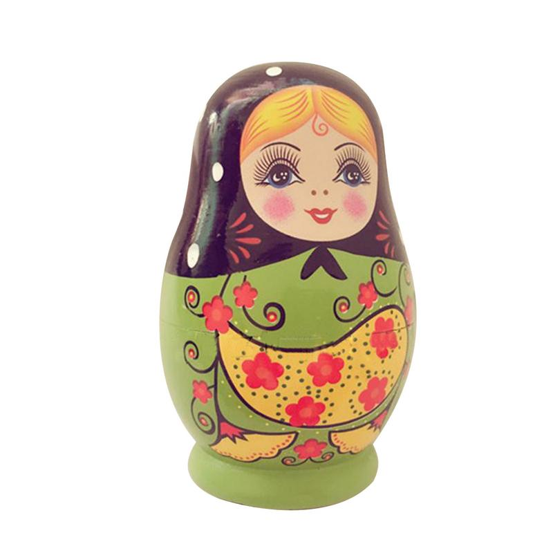 Beautiful Ponytails Floral Hand Painted Wooden Matryoshka Doll 5 Nested 4 1//4 Inch Tall