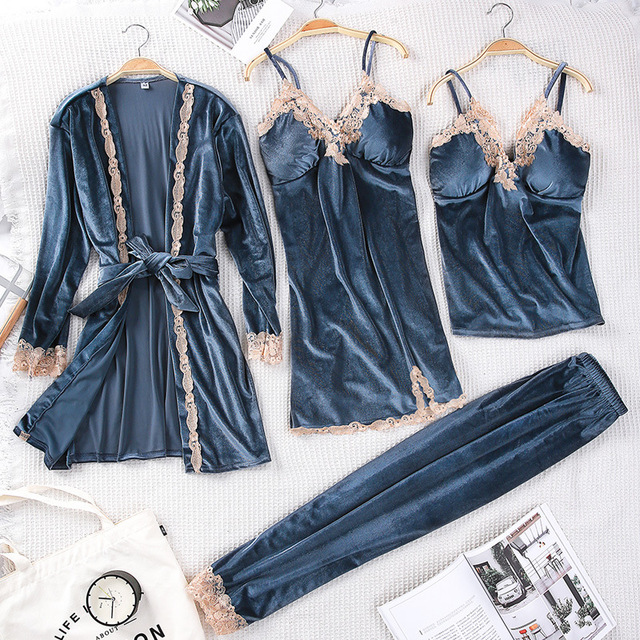 Winter Women Velvet Sleepwear Comfortable Loose Lounge Robe Set Lace Warm 3PCS Pajamas Sleep Suit Kaftan Nightgown Home Clothing
