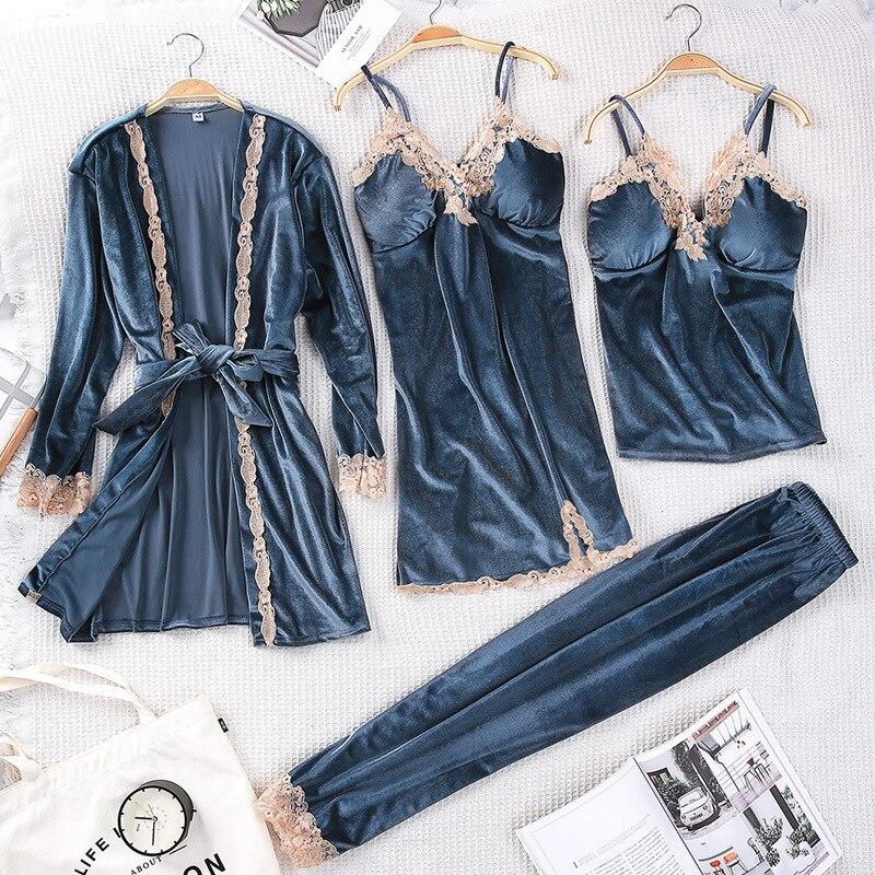 Winter Women Velvet Sleepwear Comfortable Loose Lounge Robe Set Lace Warm 3PCS Pajamas Sleep Suit Kaftan Nightgown Home Clothing-in Robes from Underwear & Sleepwears