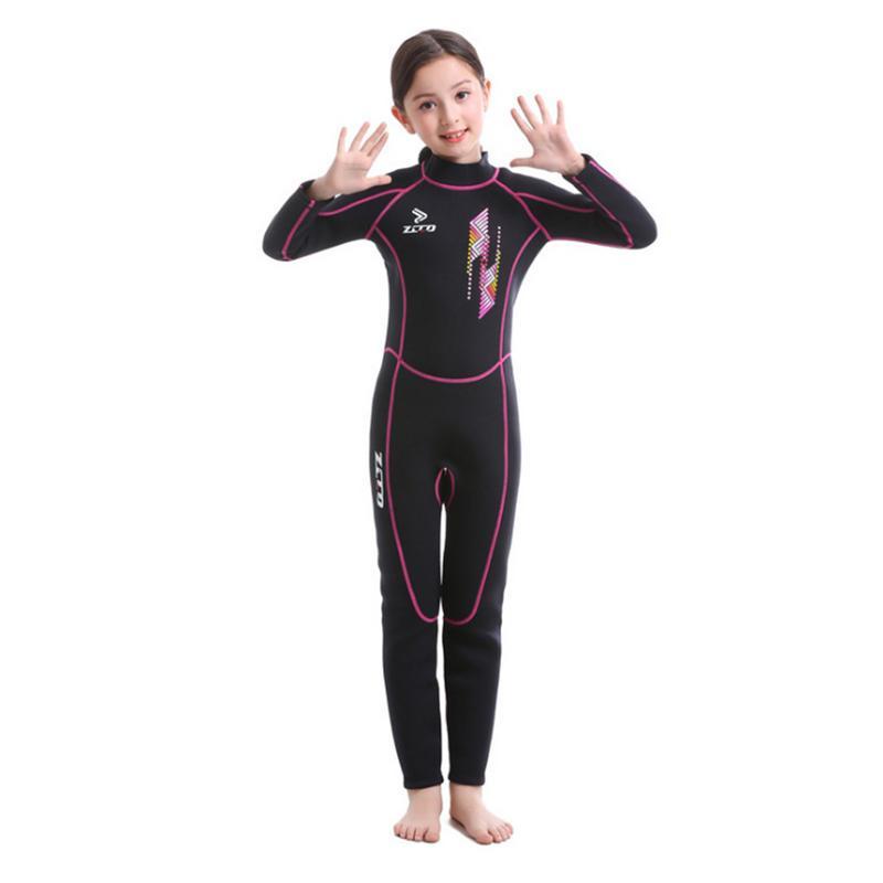 ZCCO Kids Diving Suit 2.5MM Neoprene Wetsuit Keep Warm Children Snorkeling Surfing One-piece Long Sleeves UV Protection Swimwear