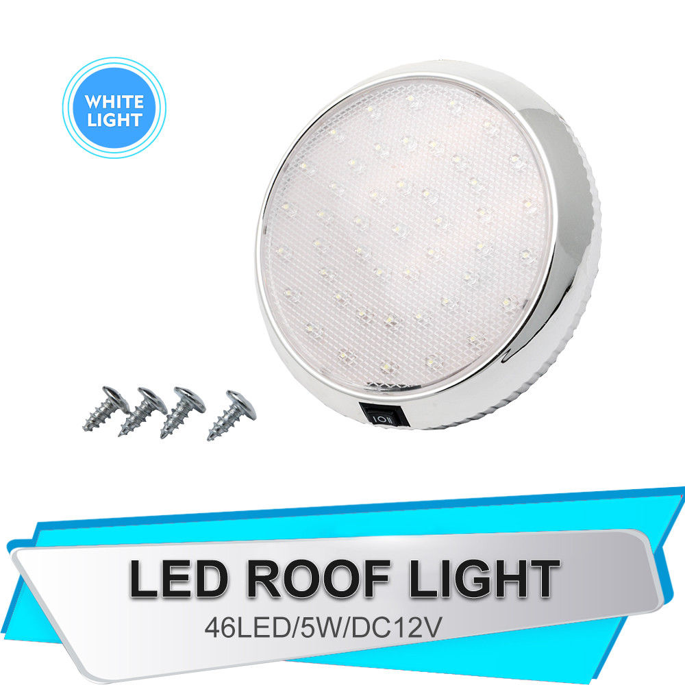 DC12V Car Round Ceiling Dome Roof Interior Light Lamp On/Off Switch 46 LED White Light