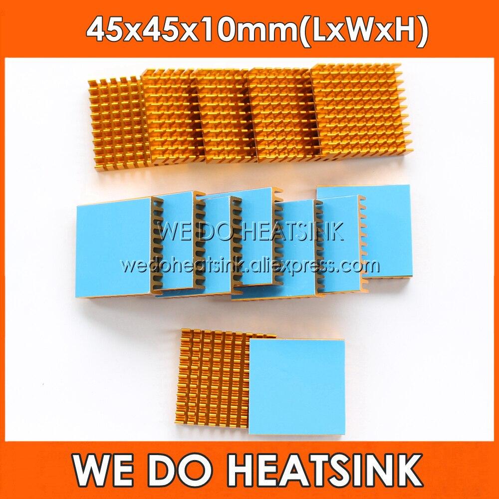 WE DO HEATSINK 2pcs DIY 45*45*10mm Heatsink Cooling Aluminum Heat Sink Radiator Cooler For LED With Blue Thermal Tape On
