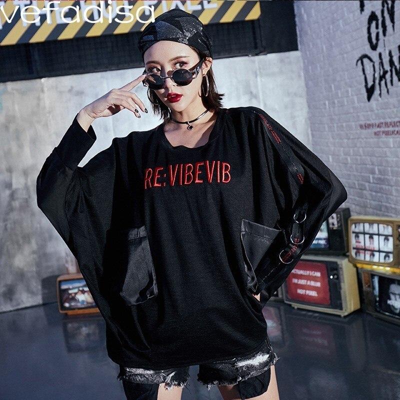 Vefadisa Lettre t-shirt brodé Femmes t-shirt noir avec poches Bat Manches Longues T-shirt Sangles Anneau Hip-Hop T-shirt ZLD713