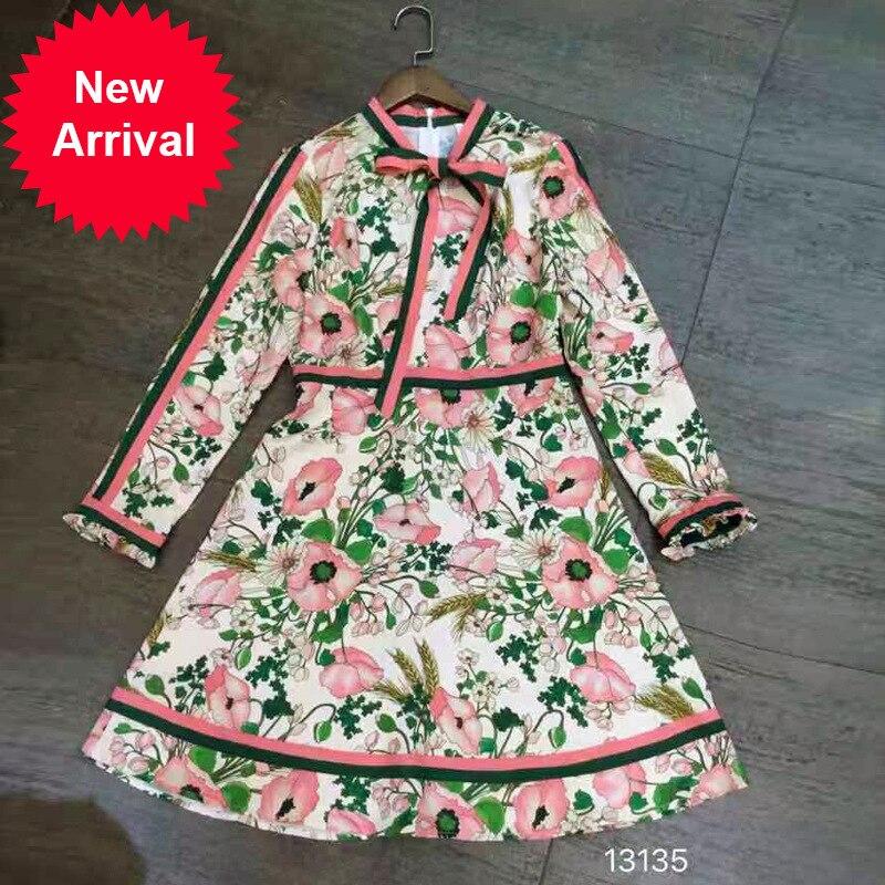 À Avec Robe Automne Courte Haute Robes Impression Unique Designer Dames Flower Printemps Original Qualité Colour Tie Piste 2018 Longues Manches Bow CXwX86qT