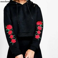 Europe And The United Statescasual Loose Embroidery Rose Hoodie Sweatshirt Women Femme Pullover