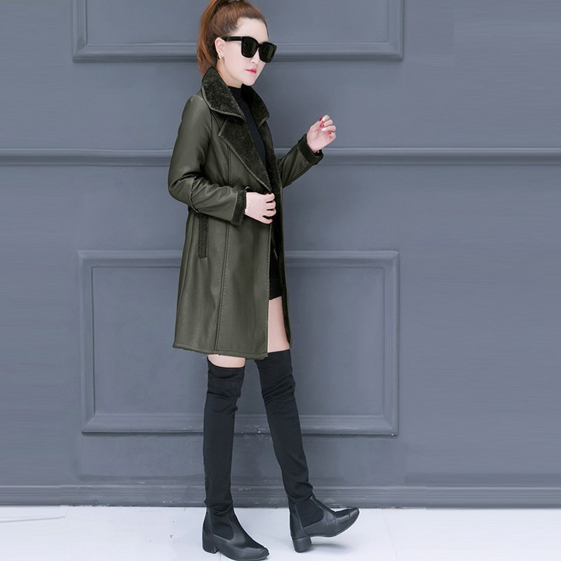 New 2018 Winter Women Faux   Leather   Jackets Faux   Suede   Lambs Wool Coat Thick Warm Shearling Coats