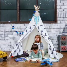 Black Tree Kids Tipi Toy Tent Play House for Children Cotton Wigwam Canvas Outdoor Teepee for Travel Baby Room Decor 4 Poles