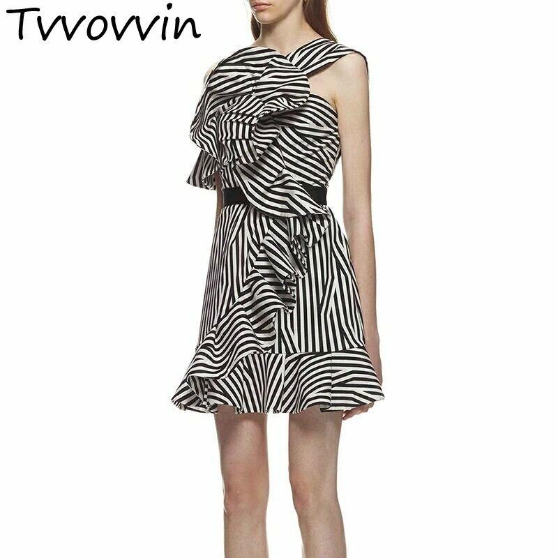 TVVOVVIN robe rayée femmes épaule dénudée irrégulière volants Patchwork taille haute une ligne Mini robes vêtements d'été E060