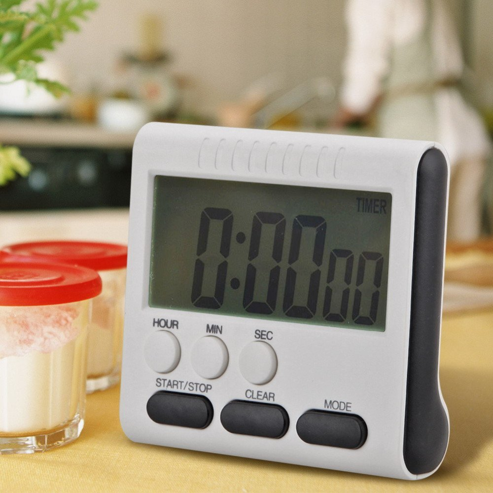 Cute Mini Round LCD Digital Cooking Kitchen Gadget Count Up Down Alarm Egg Timer