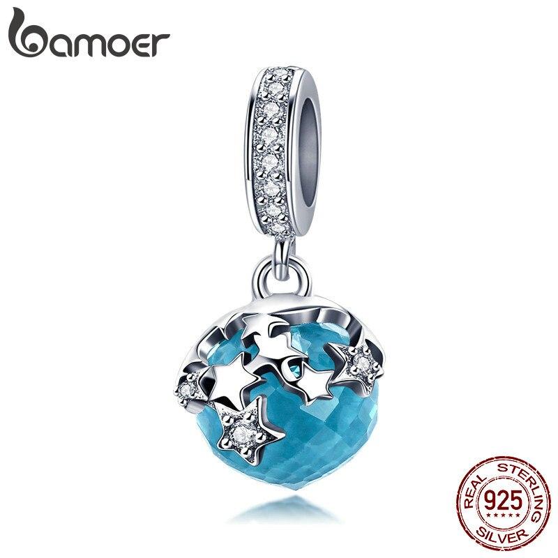 BAMOER alta calidad plata esterlina 925 deslumbrante estrella azul colgante de cristal encantos pulseras del encanto de la joyería de BSC029