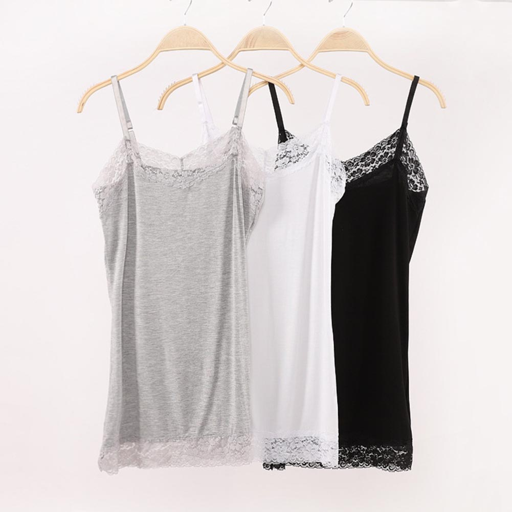 Summer Sexy Women's Lace Camisole   Tank     Tops   New Casual Plus Size 2XL Sleeveless V-Neck Shirts Adjustable Cami Long Layering Vest