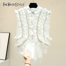 TWOTWINSTYLE Casual Off Shoulder Ruffles Blouse Women Lapel Sleeveless Pearl Oversize Shirt Female Spring Fashion 2020 New