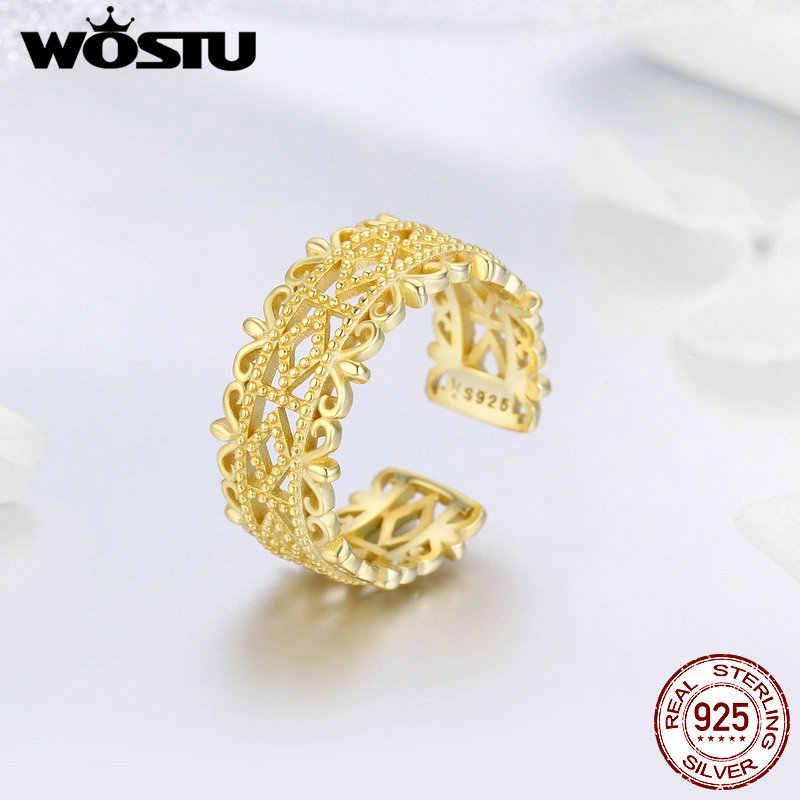 WOSTU Echtem 100% 925 Sterling Silber Royal Queen Finger Ringe Für Frauen Jahrestag Engagement Romantische Schmuck Geschenk CQR461