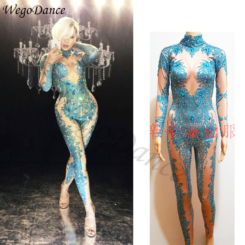 New Fashion Skinny Blue Crystals Jumpsuit Female Singer Dancer Stones Costume One-piece Bodysuit Nightclub Oufit Party Leggings