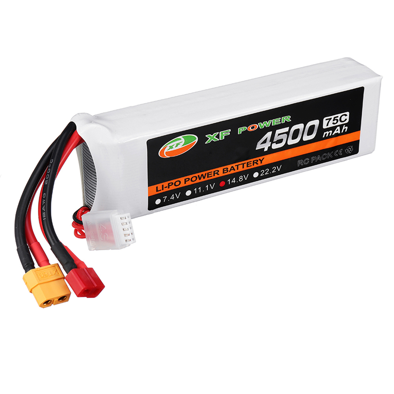 XF Power 14.8V 4500mAh 75C 4S Lipo Battery w/ T/XT60 Plug Connector for Skyhunter RC Airplane Multicopter Spare Parts Drone AccsXF Power 14.8V 4500mAh 75C 4S Lipo Battery w/ T/XT60 Plug Connector for Skyhunter RC Airplane Multicopter Spare Parts Drone Accs