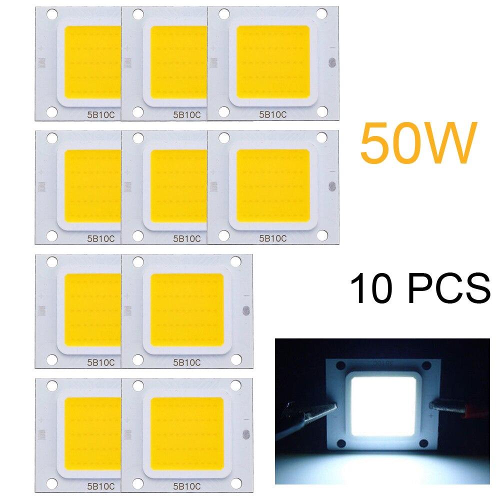 10X puces LED bricolage haute puissance lampe 50 W pour lumière d'inondation COB blanc froid ampoule