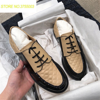 2018 British Styles Nude Black Leather Mixcolros Oxfords Shoes For Women's Lace Up Loafers Luxury Designer Casual Shoes Woman