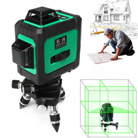 Green Auto Laser Level + 1mm 12 Lines 3D 360 Horizontal Vertical Cross Build Tool Waterproof Plumb point Wavelength 532nm Stable