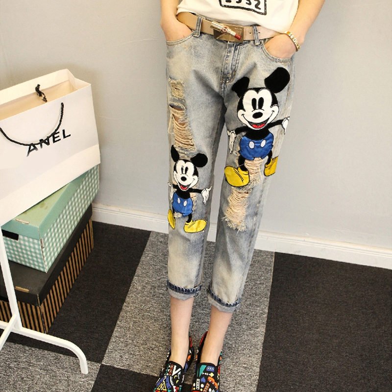 Adult Mickey Mouse   Jeans   Denim Pants Boyfriend Ripped   Jeans   For Women Plus Size Ankle Distressed Destroyed   Jeans   Woman Street