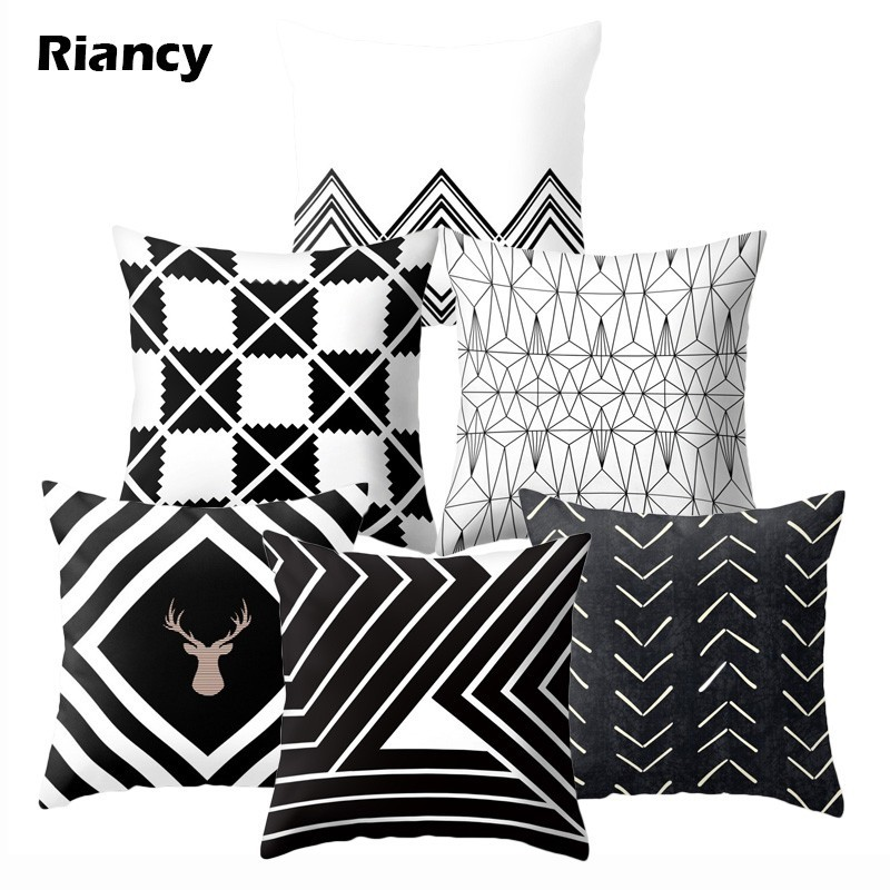 Black White Classic Geometric Cushion Cover Polyester Decorative Pillows Sofa Cushions 45*45 Printed Decor Pillowcover 40525-1